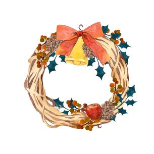 水彩のクリスマスリースのイラスト素材 [FYI04610142]