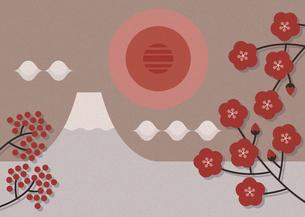 富士山と日の出のイラスト素材 [FYI04610293]
