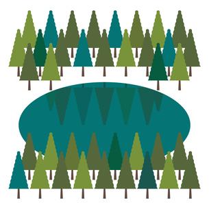 森と湖(夏)のイラスト素材 [FYI04610522]