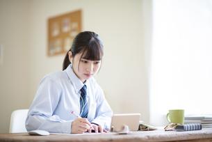 オンライン学習を受ける女子学生の写真素材 [FYI04610628]