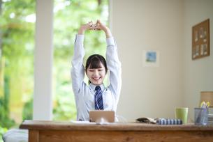 オンライン学習を受ける女子学生の写真素材 [FYI04610633]