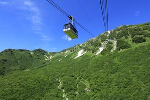 黒部 黒部平から眺める立山ロープウェイと背景に日本100名山の立山 日本百名山 黒部立山アルペンルートの写真素材 [FYI04611036]