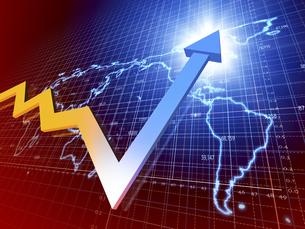 世界経済の上方傾向を示す矢印のイラスト素材 [FYI04611076]