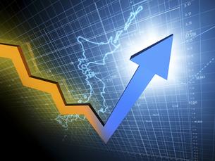 日本経済の上方傾向を示す矢印のイラスト素材 [FYI04611077]