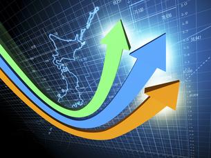 日本経済の上方傾向を示す3矢印のイラスト素材 [FYI04611078]