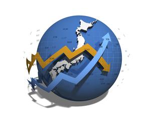 日本経済の正負を示す矢印のイラスト素材 [FYI04611092]