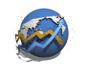 世界経済の正負を示す矢印のイラスト素材 [FYI04611093]