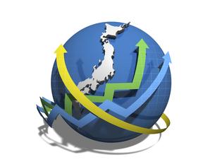 日本経済の正負を示す矢印のイラスト素材 [FYI04611094]