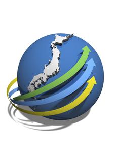 日本経済の情報傾向を示す3矢印のイラスト素材 [FYI04611095]