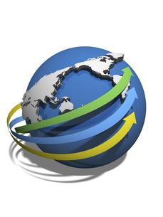 世界経済の情報傾向を示す3矢印のイラスト素材 [FYI04611096]