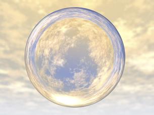 屈折して空を映す透明球体のイラスト素材 [FYI04611152]