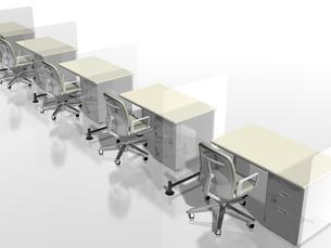 アクリルの遮へい板を挟んで並ぶビジネスデスクのイラスト素材 [FYI04611154]