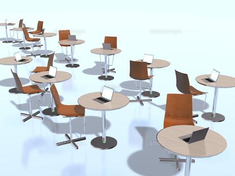 円テーブルで分けたビジネス環境のイラスト素材 [FYI04611159]