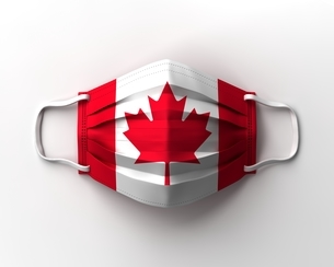 カナダ国旗のマスクのイラスト素材 [FYI04611236]
