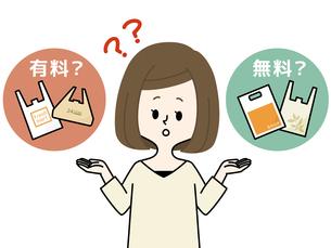女性-プラスチック製レジ袋有料化のイラスト素材 [FYI04611727]