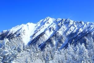 西穂高口より望む雪景色の穂高連峰の写真素材 [FYI04612770]