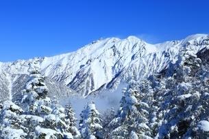 西穂高口より望む雪景色の穂高連峰の写真素材 [FYI04612784]