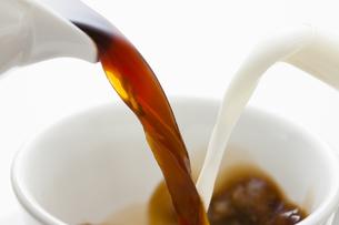 カップに注がれるコーヒーとミルクの写真素材 [FYI04612788]