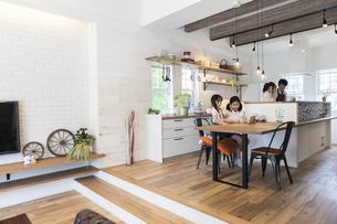 キッチンに立つ夫婦と遊ぶ子供の写真素材 [FYI04613126]