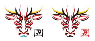 ウシの顔のデザイン 日本の伝統芸能 歌舞伎の顔のメイク 隈取り イラスト セット ベクターのイラスト素材 [FYI04613273]