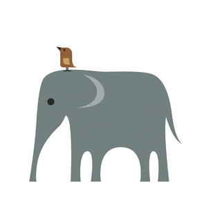 ゾウと鳥のイラスト素材 [FYI04613298]