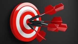 All red dart arrows hit target.3d illustration.のイラスト素材 [FYI04613310]