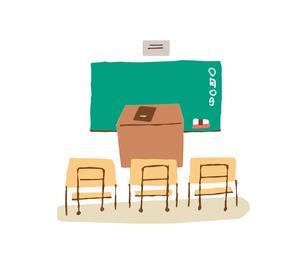教室 黒板と机のイラスト素材 [FYI04613988]