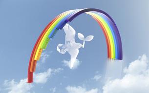 虹と鳥のイラスト素材 [FYI04614168]