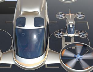 屋上にあるドローンポートに離陸する大型旅客ドローン。空飛ぶタクシーのコンセプトの写真素材 [FYI04614383]