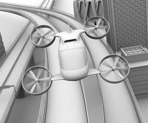 高速道路の上に飛行している空飛ぶクルマのクレイレンダリングイメージの写真素材 [FYI04614390]