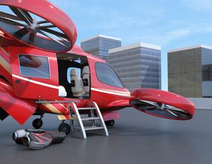 ドローンポートに待機中の大型旅客ドローン。空飛ぶタクシーのコンセプトの写真素材 [FYI04614396]