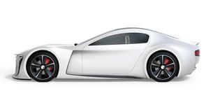 白バックにシルバー色の電動スポーツクーペの側面イメージの写真素材 [FYI04614401]