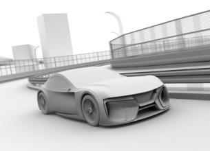高速道路に走行している電動スポーツカーのクレイレンダリングイメージの写真素材 [FYI04614414]