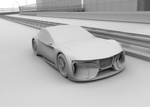 高速道路に走行している電動スポーツカーのクレイレンダリングイメージの写真素材 [FYI04614417]