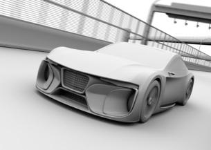 高速道路に走行している電動スポーツカーのクレイレンダリングイメージの写真素材 [FYI04614423]