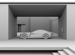 自宅充電スタンドに充電している電動スポーツカーのクレイレンダリングイメージの写真素材 [FYI04614425]