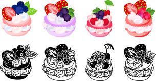 イチゴとブラックベリーとさくらんぼとブルーベリー等を飾ったマカロンのアイコンのイラスト素材 [FYI04614427]