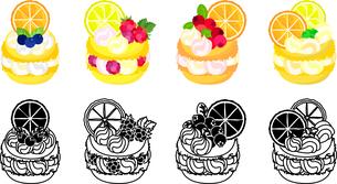 ブルーベリーとラズベリーとクランベリーとオレンジとレモン等を飾ったマカロンのアイコンのイラスト素材 [FYI04614430]