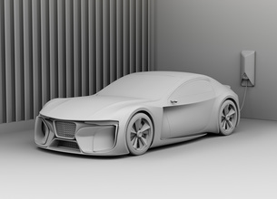 自宅充電スタンドに充電している電動スポーツカーのクレイレンダリングイメージの写真素材 [FYI04614431]
