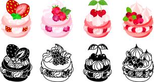 いちごとラズベリーとさくらんぼとクランベリー等を飾ったマカロンのアイコンのイラスト素材 [FYI04614432]
