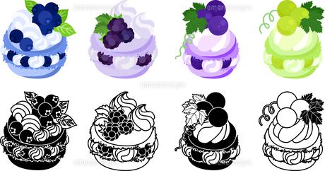 ブルーベリーとブラックベリーとぶどうとマスカット等を飾ったマカロンのアイコンのイラスト素材 [FYI04614433]