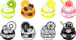 キウイとオレンジとレモンといちじく等を飾ったマカロンのアイコンのイラスト素材 [FYI04614434]