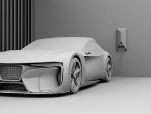 自宅充電スタンドに充電している電動スポーツカーのクレイレンダリングイメージの写真素材 [FYI04614436]