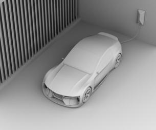 自宅充電スタンドに充電している電動スポーツカーのクレイレンダリングイメージの写真素材 [FYI04614438]