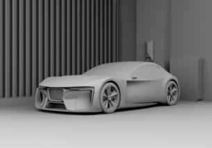 自宅充電スタンドに充電している電動スポーツカーのクレイレンダリングイメージの写真素材 [FYI04614440]
