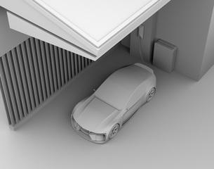 自宅充電スタンドに充電している電動スポーツカーのクレイレンダリングイメージの写真素材 [FYI04614442]