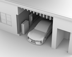 ソーラーパネルが備えて、自宅充電スタンドに充電している電動スポーツカーのクレイレンダリングイメージの写真素材 [FYI04614445]