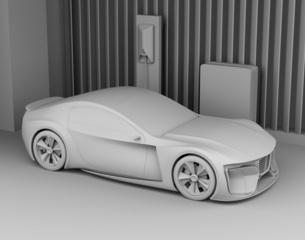 自宅充電スタンドに充電している電動スポーツカーのクレイレンダリングイメージの写真素材 [FYI04614449]