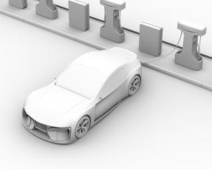 充電ステーションに充電している電動スポーツカーのクレイレンダリングイメージの写真素材 [FYI04614452]
