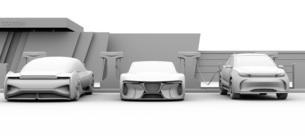 充電ステーションに充電している電動スポーツカーのクレイレンダリングイメージの写真素材 [FYI04614454]